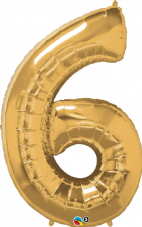 Number 6 Gold Super Shape Number Foil Balloon